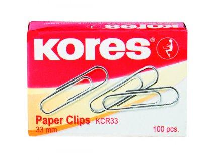 Kancelářské sponky Kores 50 mm kulaté, 100 ks v krabičce