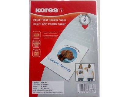Nažehlovací papír na tričko pro světlé oblečení  -  A4