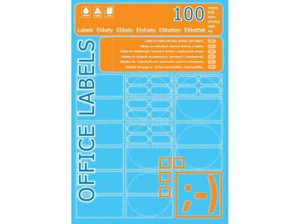 Univerzální etikety, 105 x 37, 16 etiket na A4, 1600 etiket v balení, ostré rohy