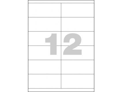 Univerzální samolepicí etikety Kores 105 x 48, 12 etiket na A4, 1200 etiket v balení, ostré rohy