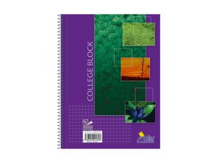 Spirálový blok College A5 Notes - 80 listů - čtvereček