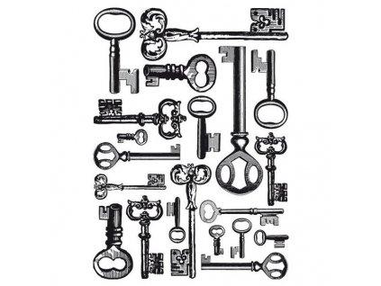 Dřevěné razítko, velikost G, klíče