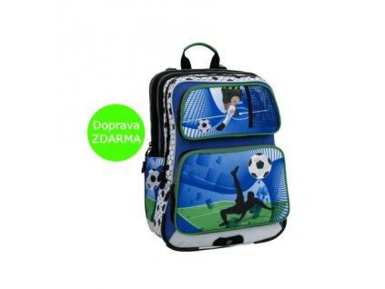 Školní batoh fotbal pro první třídu Bagmaster GALAXY 6 D BLUE/GREEN/WHITE