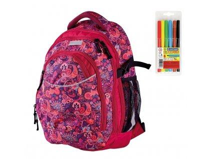 Školní batoh pro holky Stil Orient  + DÁREK ZDARMA - Fixy Centropen 6 barev