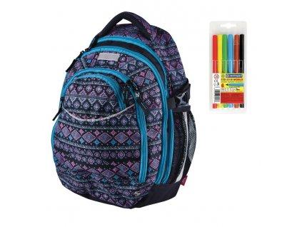 Školní batoh pro holky Stil Ethno  + DÁREK ZDARMA - Fixy Centropen 6 barev