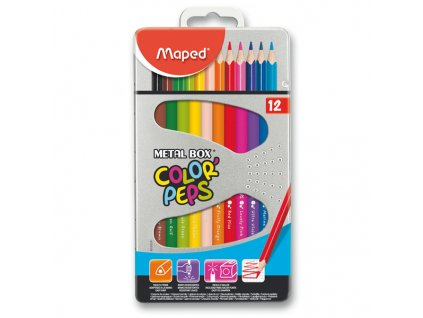 Pastelky Maped Color´Peps Metal Box, 12 barev