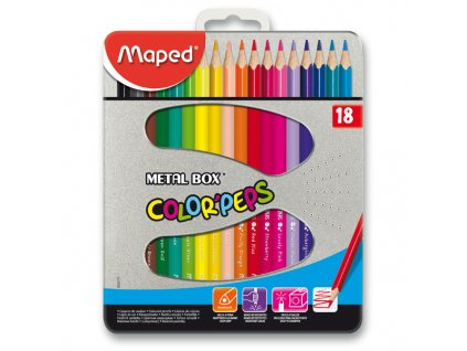 Pastelky Maped Color´Peps Metal Box, 18 barev