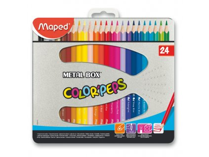 Pastelky Maped Color´Peps Metal Box, 24 barev