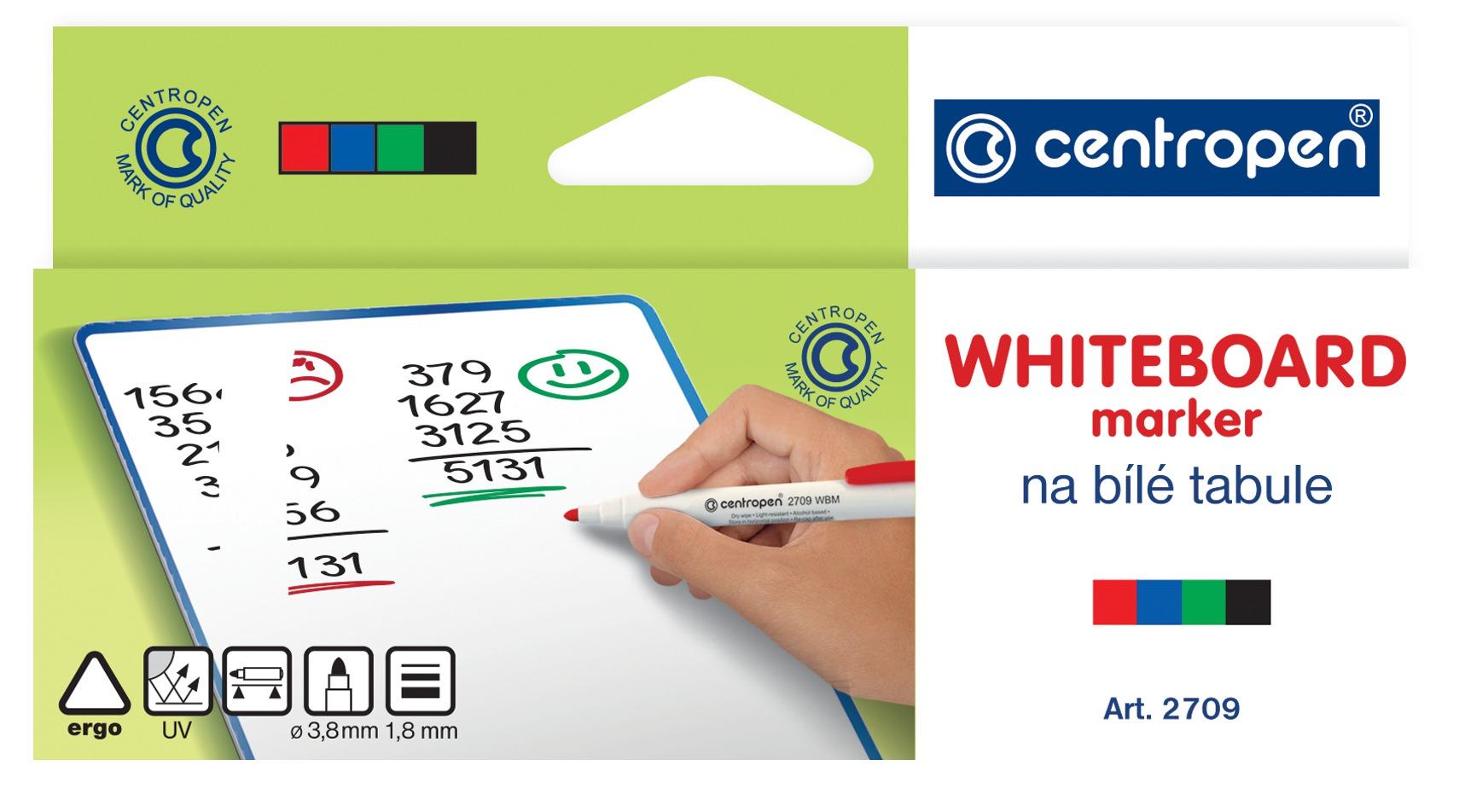 Centropen Fix na tabulky - WBM stíratelný 2709 - mix barev Barva: Sada 4 barev (černá, červená, modr