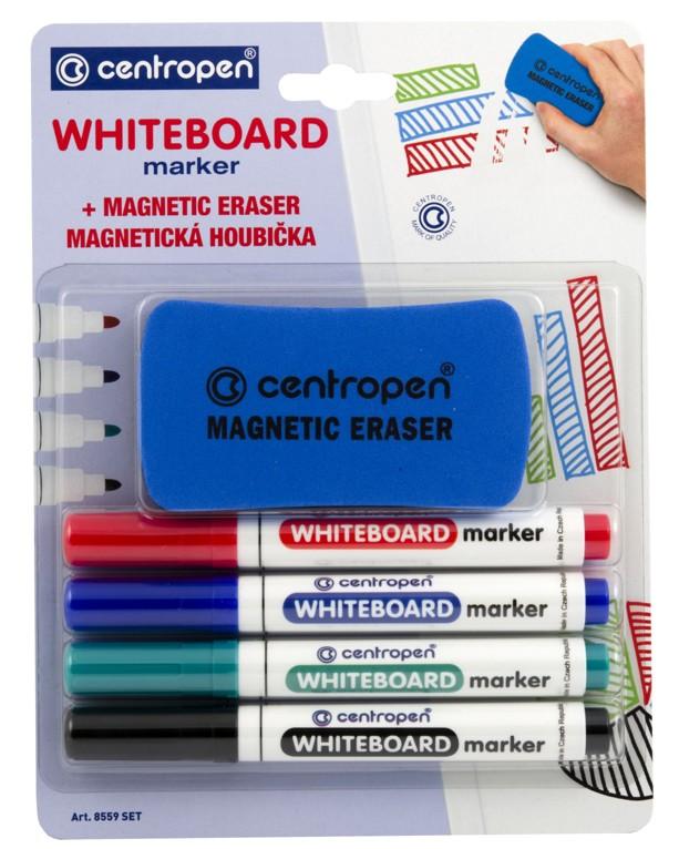 Fix na bílé tabule Centropen - WBM stíratelný 8559 - mix barev Barva: Sada 4 barev (černá, červená,