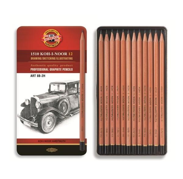 Souprava umělecké grafitové tužky sada 1512N 12 v dárkové plechové kazetě