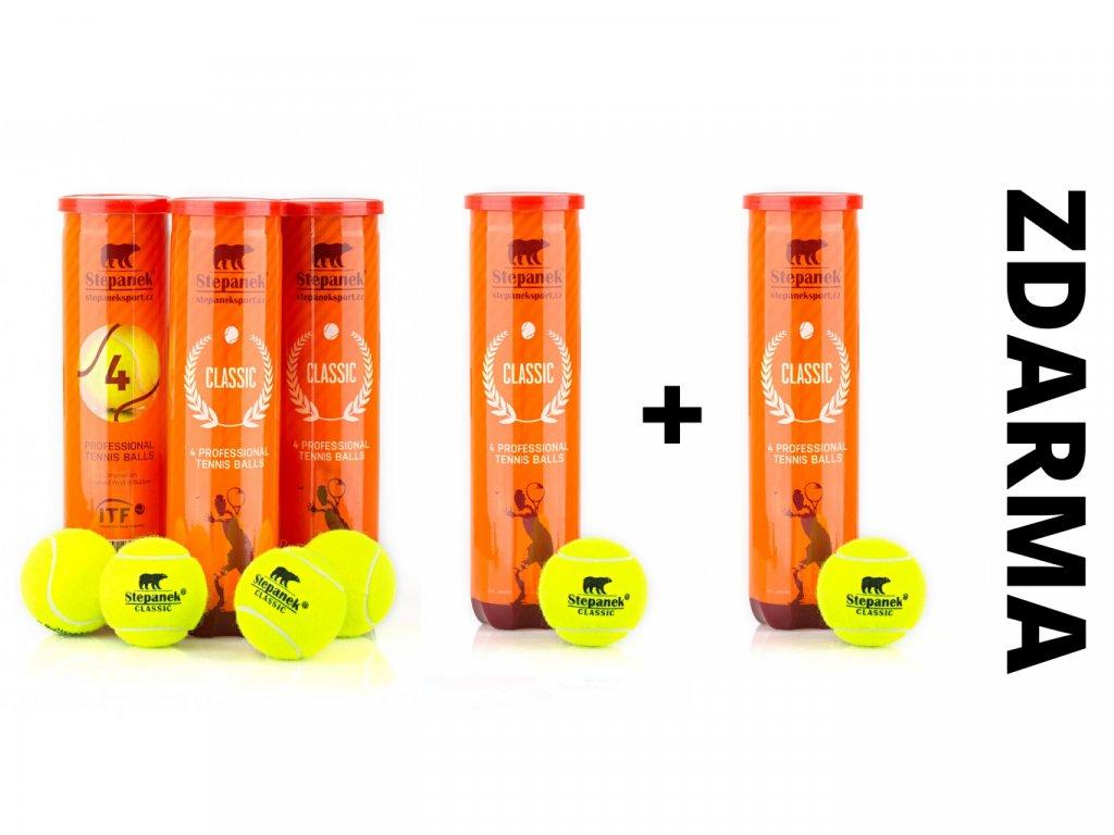 Tenisové míčky Stepanek Classic 3+1 zdarma