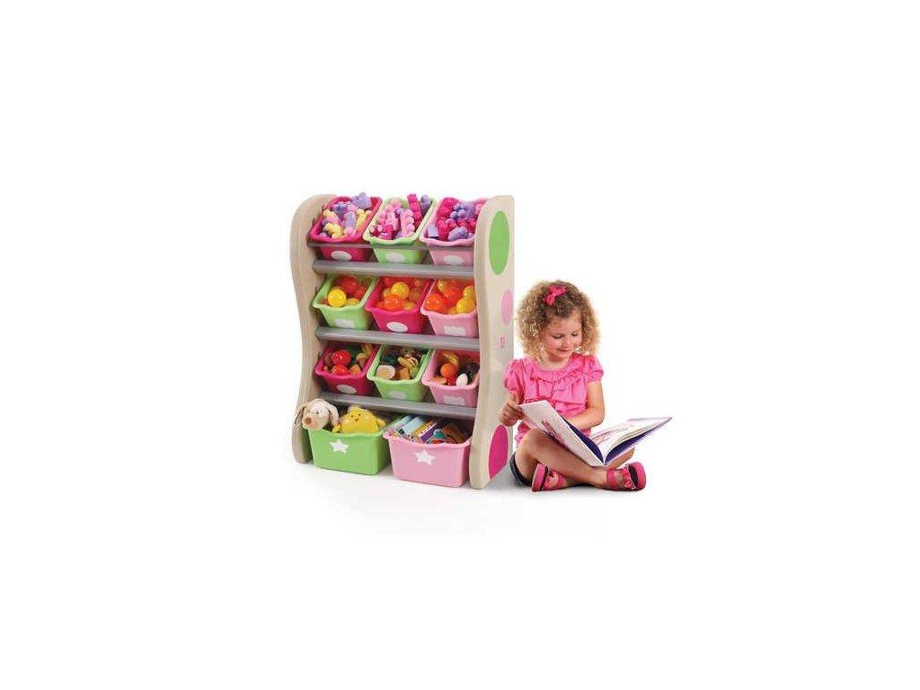 policová skříňka s boxy na hračky Pastel, úložné boxy na hračky