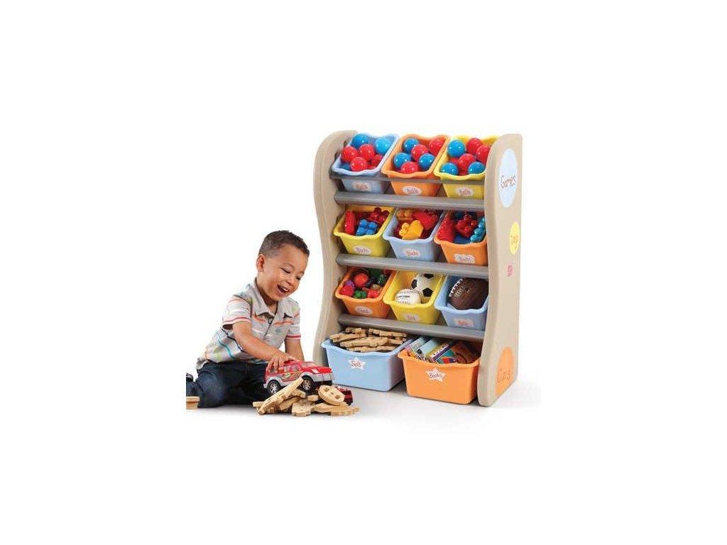 policová skříňka s boxy na hračky Tropical, úložné boxy na hračky