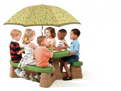 piknikový stůl se slunečníkem dětský