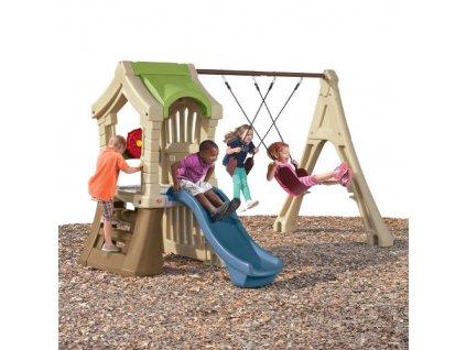 dětské hřiště,hrací sestava s houpačkou,se skluzavkou