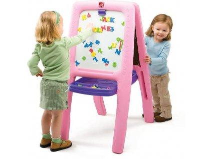dětská tabule magnetická, skládací oboustranná tabule, dětská tabule na křídy