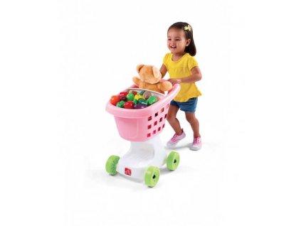 dětský nákupní košík růžový,koš,nákupní vozík,dětský vozík, chodítko