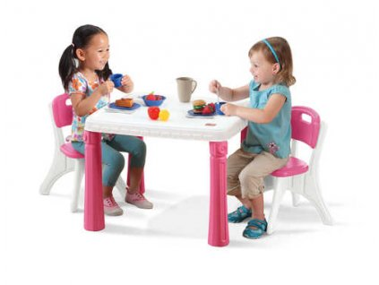 dětský stoleček se 2 židlemi růžový,dětský stolek Step2