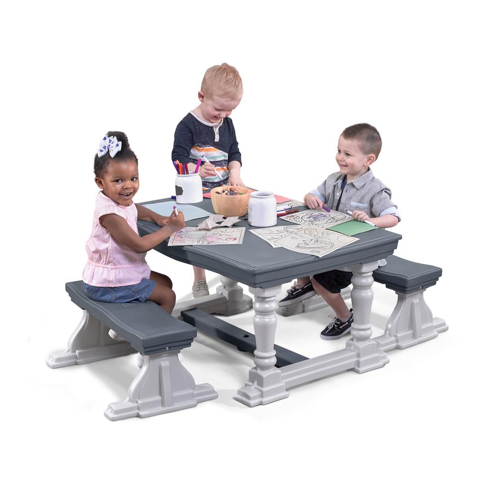STEP2 Dětský stůl se 2 lavicemi - šedý