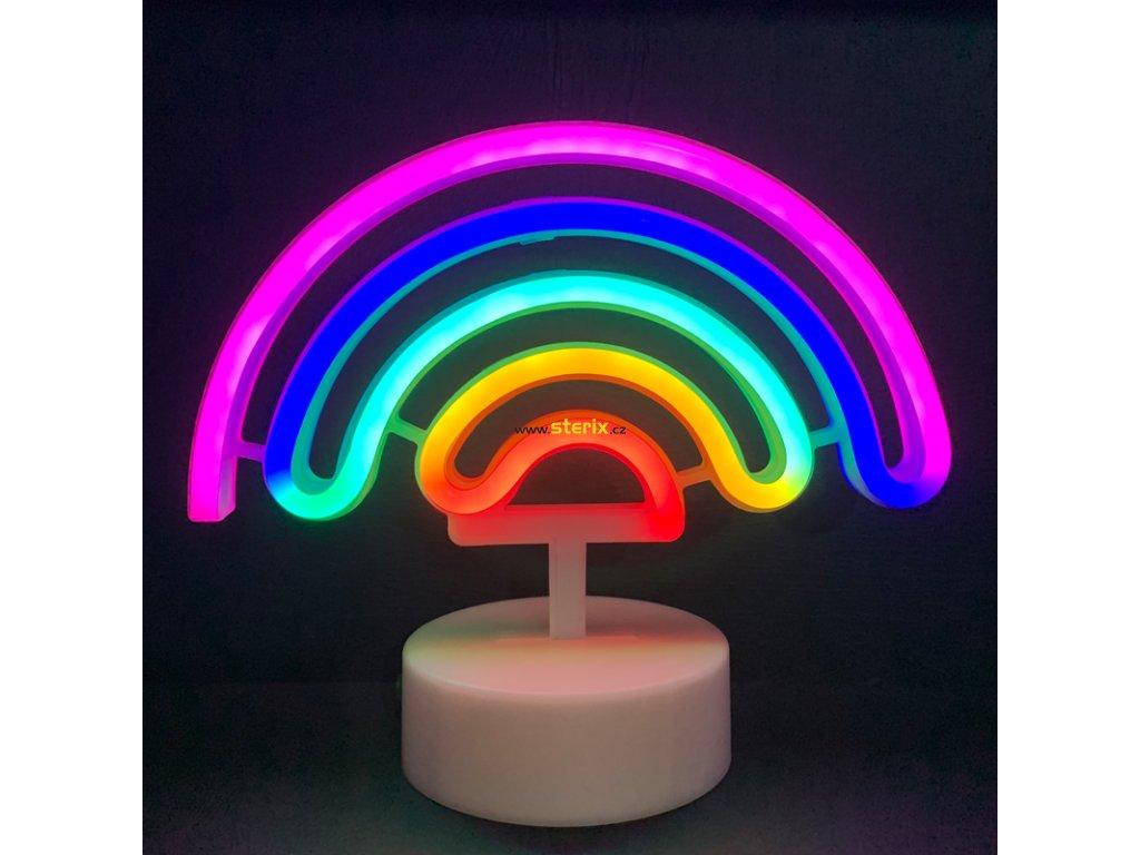 Neonová lampička - Duha,  3x AA baterie