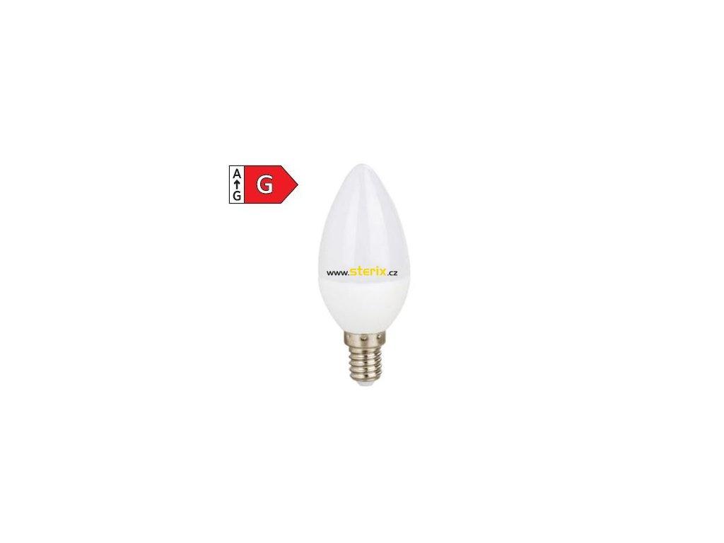 SMD LED žárovka matná Candle C37 5W/230V/E14/3000K/440Lm/200°/A+