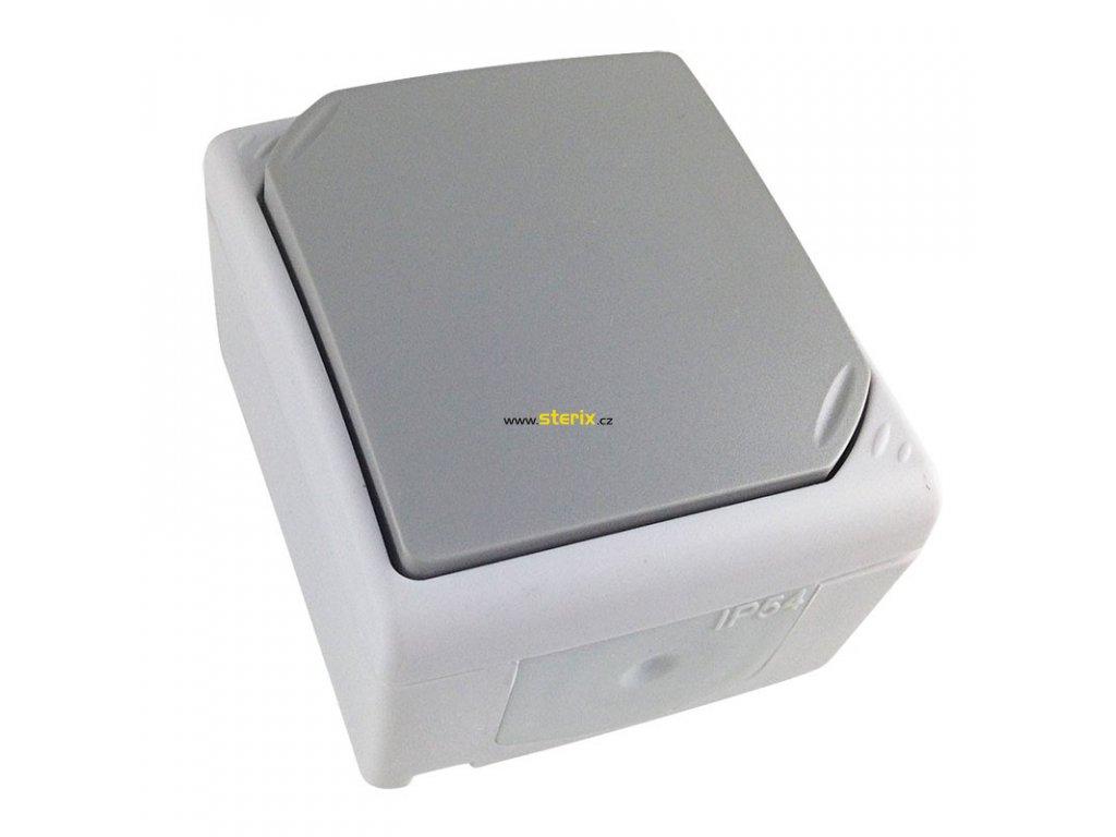 Vypínač do vlhka IP54, č. 1 jednopólový, šedý