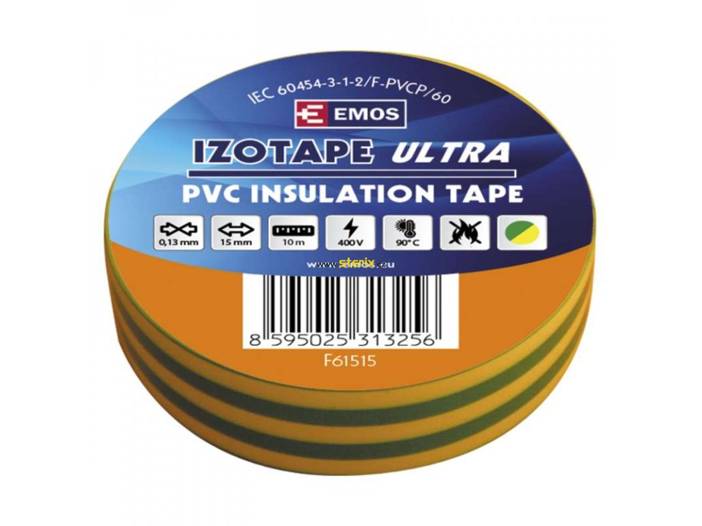 Izolační páska 15mm x 10m, zeleno-žlutá