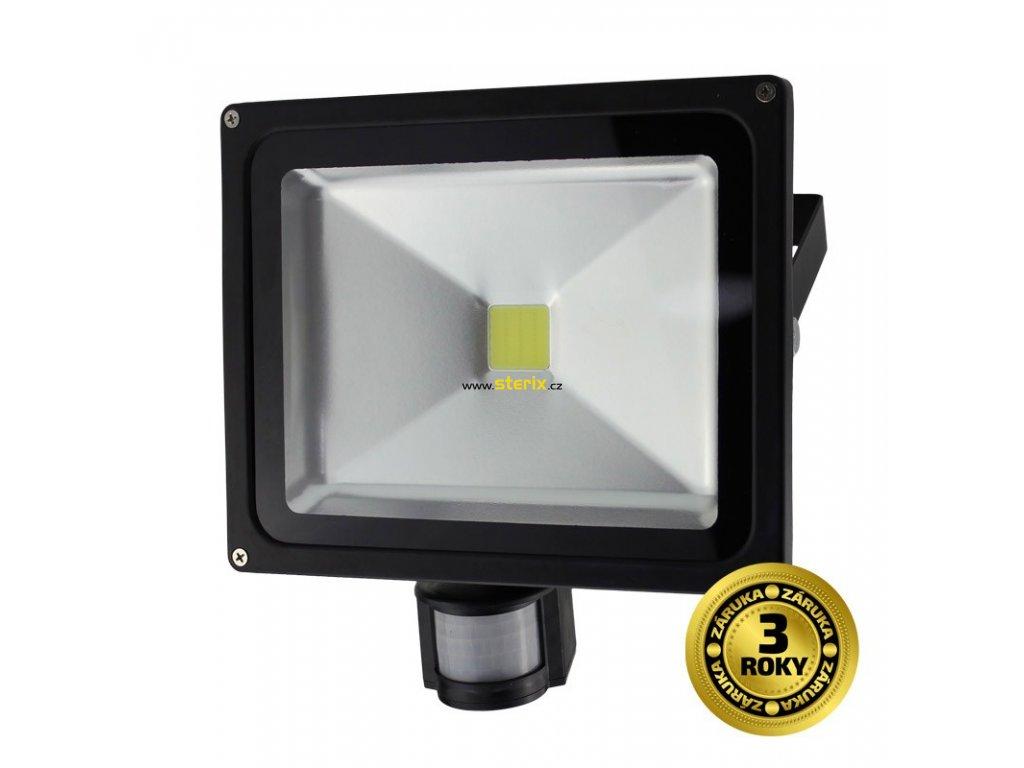 LED venkovní reflektor + senzor 30W/230V/6000K/2400Lm/IP44, černý slim