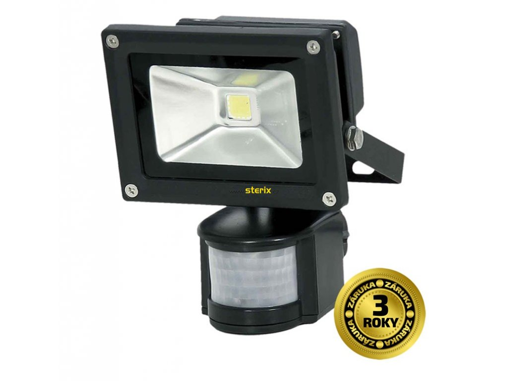 LED venkovní reflektor + senzor 10W/230V/6000K/700Lm/IP44, černý