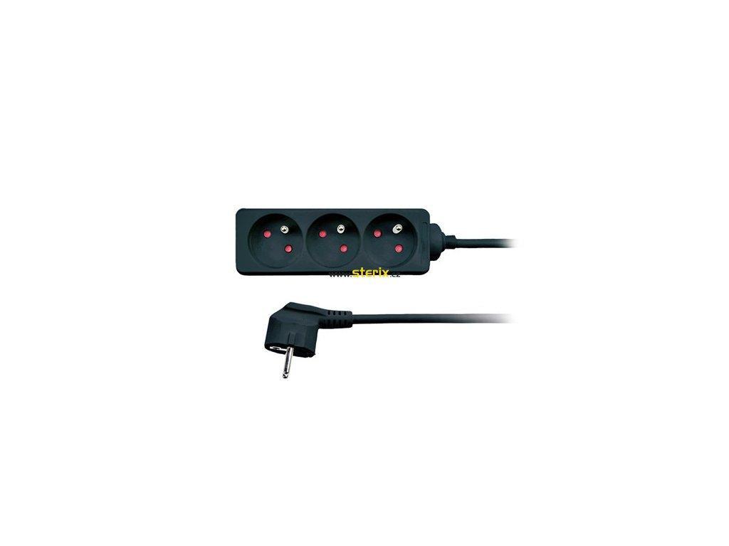 Prodlužovací kabel 230V/10A - 2m, 3 zásuvky, 3 x 1mm, IP20, černý