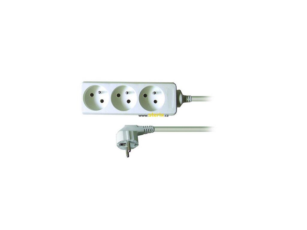 Prodlužovací kabel 230V/10A - 2m, 3 zásuvky, 3 x 1mm, IP20, bílý