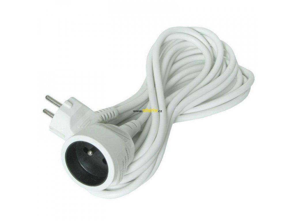 Prodlužovací kabel 230V/10A - 5m, 1 zásuvka, 3 x 1mm, IP20, bílý