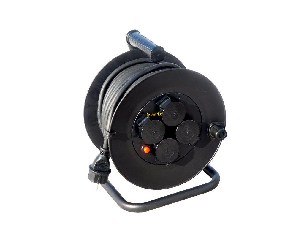 Prodlužovací kabel na bubnu PB33 - 4 zásuvky, 25m, 3 x 1,5mm, gumový, IP44, černý