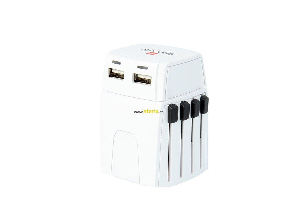 Cestovní adaptér univerzální pro 150 zemí PA44 MUV 2x USB nabíjecí port 5V/2400mA
