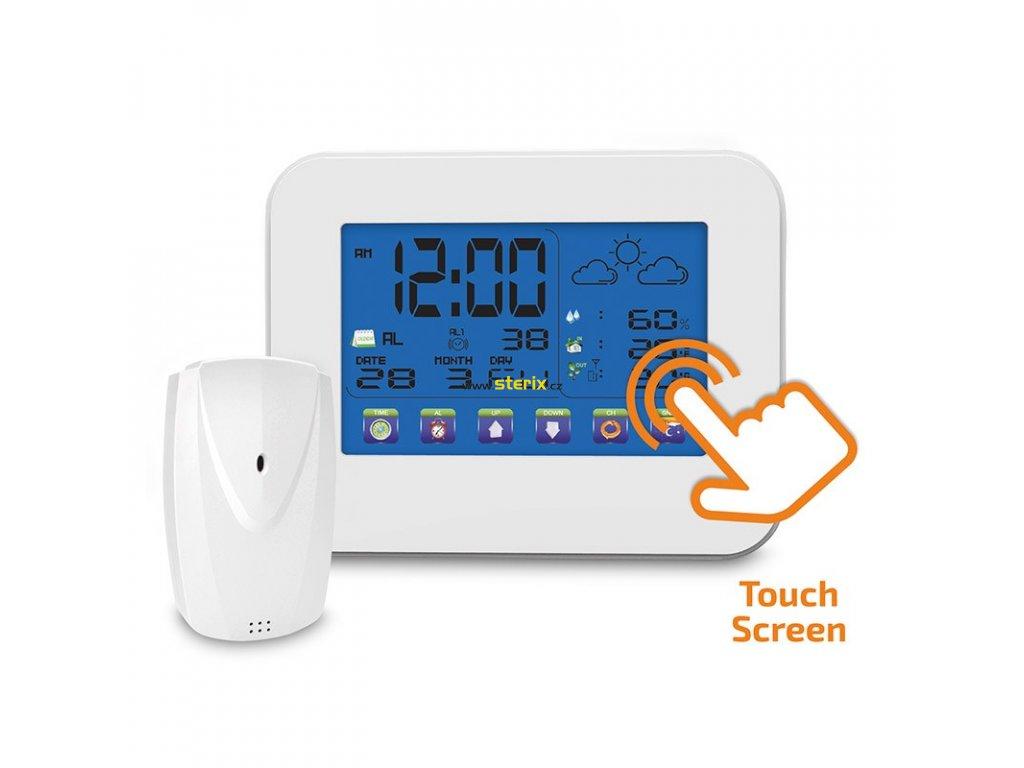 Bezdrátová meteostanice, dotykový barevný LCD, vnitřní/venkovní teplota, vlhkost, bílá