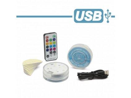 LED dobíjecí svítidlo do bazénu RGB/110Lm/IP68/USB multicolor s aku Ni-Mh 800mAh, 2ks