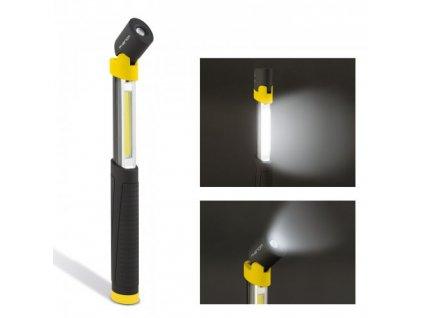 LED teleskopická svítilna PHENOM se sklopnou hlavou, vysoká svítivost 250Lm