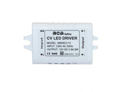 LED napájecí zdroj 230V AC ->12V DC/5W/500mA/IP20