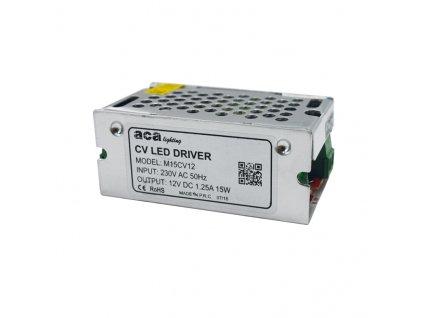LED napájecí zdroj 230V AC ->12V DC/15W/1250mA/IP20
