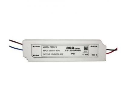 LED napájecí zdroj 230V AC ->12V DC/60W/5A/IP67