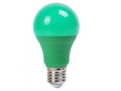 SMD LED žárovka A60 zelená 9W/230V/E27/GREEN/270Lm/200°/A+