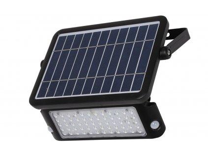 LED solární reflektor 10W/Li-3,7V-3Ah/4000K/1100Lm/IP65/90°, pohybový senzor, černý