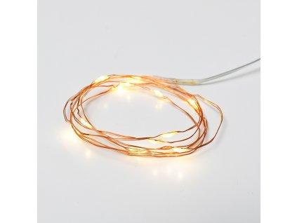 LED dekorační měděná girlanda, teplá bílá barva, 2xCR2032, 120 cm, IP20