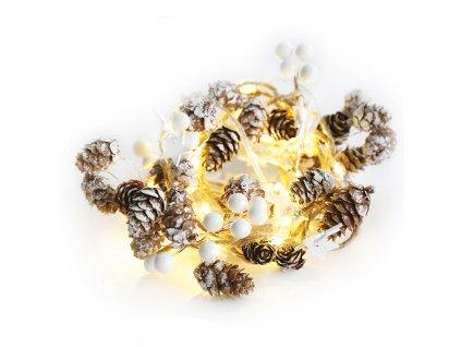 LED vánoční girlanda - bílé šištičky, teplá bílá, 2x baterie AA, 160 cm, IP20