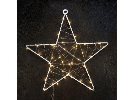LED vánoční hvězda do okna, 40 LED, 230V, IP44, teplá bílá