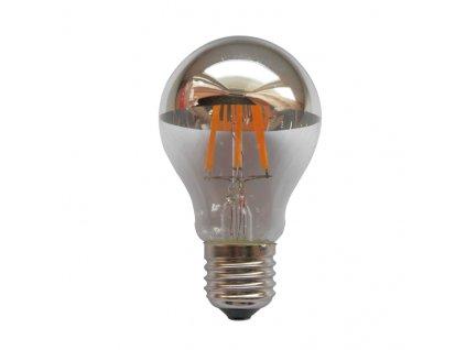 Retro LED Filament zrcadlová žárovka A60 6W/230V/E27/2700K/690Lm/180°/DIM stříbrný vrchlík