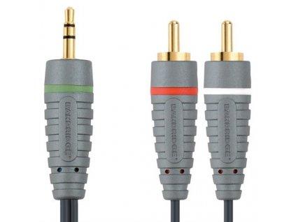 3,5mm JACK konektor stereo - 2x CINCH konektor, 2m