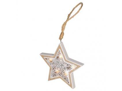 LED vánoční hvězda, dřevěný dekor, 7 LED, teplá bílá, 2x AAA