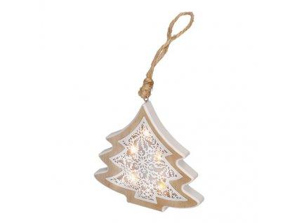 LED vánoční stromek, dřevěný dekor, 7 LED, teplá bílá, 2x AAA